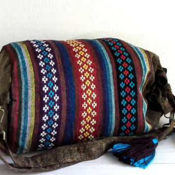 Hippie Barrel Bag, Southwestern drawstring Bag, Teen Hipster Crossbody Purse bag, Men Women Cute Sport gym Duffle bag /w Boho hippie tussles