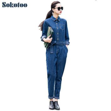 Sokotoo Women's Full Sleeve Casual Loose Denim Jumpsuits Lady's Fashion Blue Overalls With Sashes Free Shipping