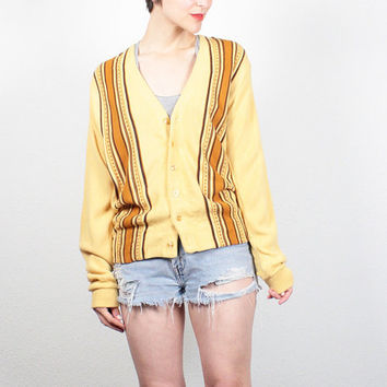 Vintage 1970s Cardigan Mustard Gold Striped Grandpa Cardigan Retro V Neck Sweater 1970s Boyfriend Sweater Skinny Hipster Jumper M Medium