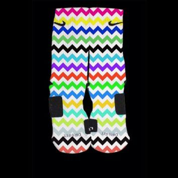 Multi Colors Chevron Custom Nike Elites Size Medium Fits Shoe Size 6-8