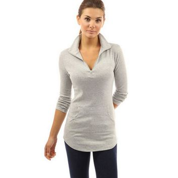 High Quality Skinny Women T-shirt Solid Long Sleeve V-neck Zipper Tops Casual Slim Fit Shirt Camiseta Mujer