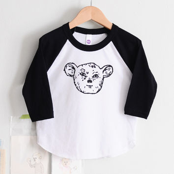 Kids Black and White Raglan Sleepy Creature Tee