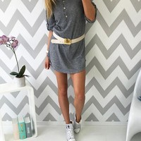 Grey Plain Buttons V-neck Streetwear Polyester Mini Dress