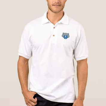 Angry Wolverine Head Front Retro Polo Shirt
