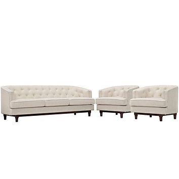 Coast Living Room Set Set of 3, Beige