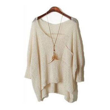 Women Irregular Hem Loose Tops Knit Hollow Crochet Batwing Sleeve Sweater