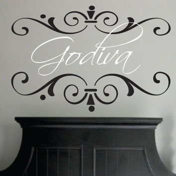 "Custom Name Decal with Chic Frame - wall decal shabby chic elegant baby nursery girl teen monogram vinyl lettering 22""H x 36""W"