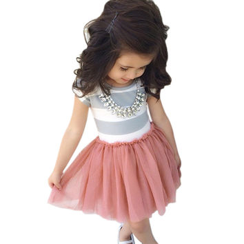 Toddler Baby 2-10Y Girls Short Sleeve Striped Tops Pleated Mini Dress Princess Dresses SM6