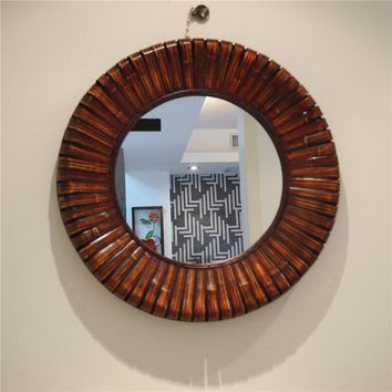 Kingart Antique Larger Bamboo And Wooden Frame Round Wall Mirror Living Room Mural Brown Deccorative Big Wall Mirror