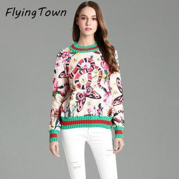 FlyingTown High quality women sweatshirt and pullover runway designer fashion flower snake butterfly print vintage female top