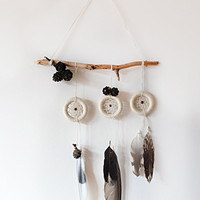 DreamCatcher Boho Dreamcatcher Wall Hanging Home Decor Feather Wind Chime With Tribal Home Decor  Wooden Natural Talisman Pine Cone