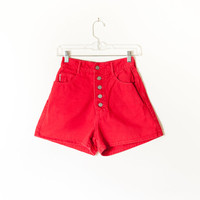 Vintage Red Bongo Shorts / High Waisted Shorts Denim Shorts Festival Red Denim Jean Shorts 90s Shorts 80s Shorts Grunge Preppy Button Fly