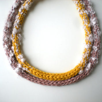 Yarn knitted necklace, Fabric bib necklace, Fiber yarn jewelry, Boho Women's accessories, Eco friendly