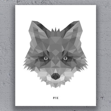 Fox Print Printable Art Poster Geometric Print Black White Wildlife Polygon Animal Art Retro Art Print Instant Download Digital Print