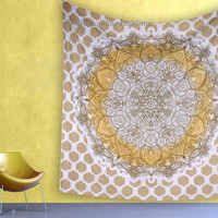 Gold Mandala Wall Tapestries Gypsy Decor Ombre Bedding Bedspread Cotton Ethnic Indian Beach Blanket