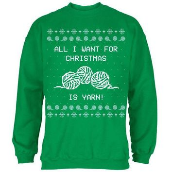 Chenier I Want Yarn Knitting Ugly Christmas Sweater Mens Sweatshirt