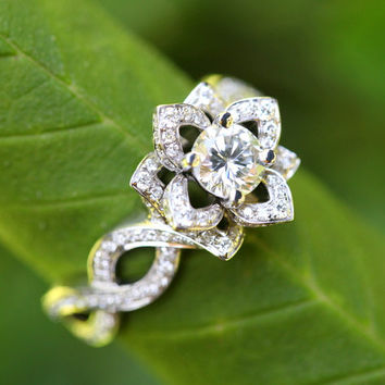 LOVE IN BLOOM - Flower Lotus Rose Diamond Engagement or Right Hand Ring - 14k white - fL03