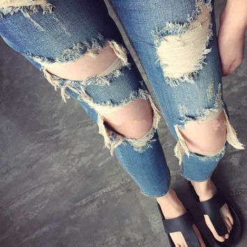 Beggar Holes Ripped Slim Low Waist Fashion Jeans