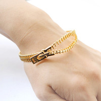 Zipper Bangle / Choose your color- gold and silver