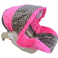 Infant Car Seat Cover, Baby Car Seat Cover, Slip Cover-Cheetah Minky & Fuchsia Minky!