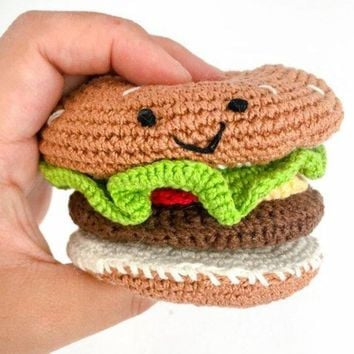 Crochet Play Food Cheeseburger with Toppings Set