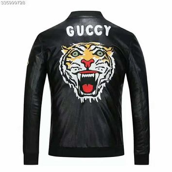 GUCCI 2018 new men's tiger embroidery letter slim collar collar jacket