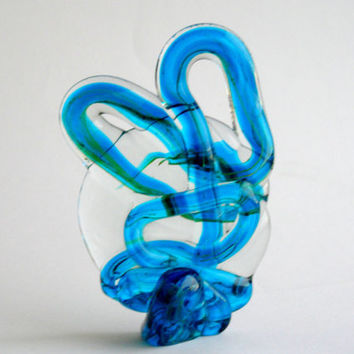 Mediterranean Blue Mdina Glass Sculpture, paperweight 1970s vintage