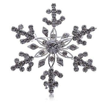 Alilang Womens Golden Tone Clear Rhinestones Winter Festive Snowflake Brooch Pin
