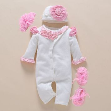 Baby Romper photography Headband Floral New Born Girl Clothing 0-3 Month Jumpsuit Spring Winter White Cute Body Suits 4pcs/set
