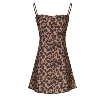 FREE SHIPPING  Spring style trim leopard print + plaid halter dress wrap hip short skirt