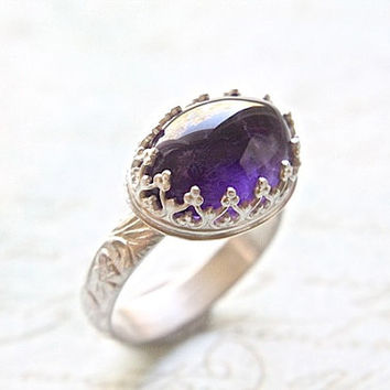 Bold Amethyst Cocktail Ring - Beautiful Royal Crown Bezel & Floral Band - Elegant February Statement Ring - Right Hand Ring