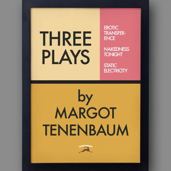 "The Royal Tenenbaums Poster - ""Three Plays by Margot""  - from the  Wes Anderson film"