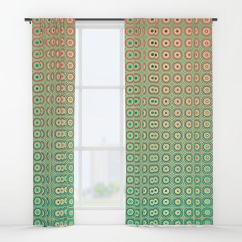 Shiny buttons retro pattern Window Curtains by Natalia Bykova