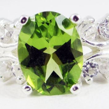 Oval Peridot and White CZ Ring Sterling Silver, August Birthstone Ring, Peridot Engagement Ring, 925 Peridot Ring, Multi Stone Ring