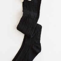 Taylor Ruffle Black Over-The-Knee Socks