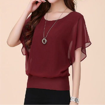 Fashion NEW Women Loose Chiffon Tee Top Batwing Short Sleeve Shirt Casual Blouse F_F = 1902449092