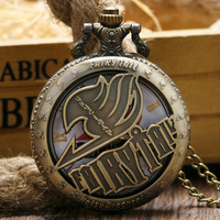 New Arrival Bronze Style Japan Natsu Dragneel Modern Fairy Tail Anime Pocket Watch With Chain Cartoon Gift Boy Kids Necklace