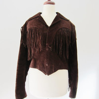 80s Crop Suede Fringe Jacket, S-M // Vintage Western Fringe Jacket in Genuine Leather, Made in Mexico