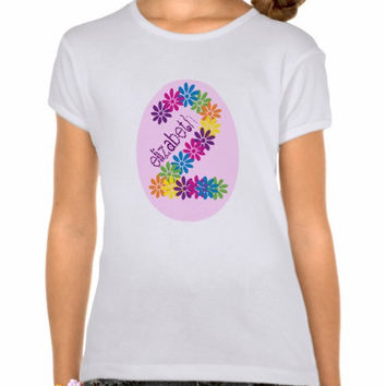 Personalized Birthday Age & Name T-Shirt Iron On Transfer - 24hr turn around time - Flowers - Multicolored