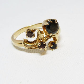 14K GoldFilled Ring with Red, Green and Blue Stones Marked 14KPC