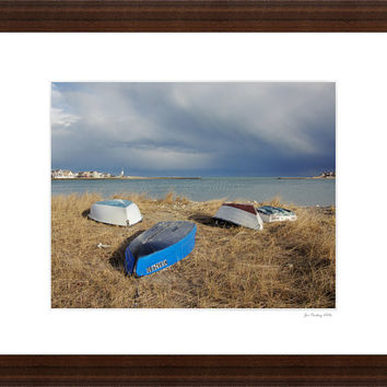 Jericho Beach, Scituate, Massachusetts, dramatic March sky, 8x10 print in 11x14 mat, signed