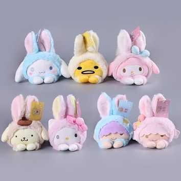 Cute Sanrio Hello Kitty My Melody Cinnamoroll Dog Egg Yolk Pudding Dog Twin Stars Turned To Rabbit Soft Plush Toys Dolls Gifts