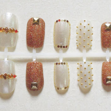 Shimmery White and Gold Glitter Japanese Inspired Fake Nails with Gold Studs and Beads, Amber Rhinestones and Orange Crytals Nail Set