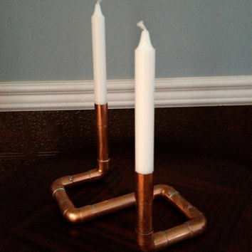 Industrial Design Candlestick Holder, Unique Centerpiece for your Holiday Table, Made with Repurposed Copper Pipe. Christmas / Wedding decor