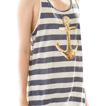 Anchor Stripe Tank Top in Navy and Gold