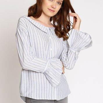 Delilah Stripe Button Up Top | Ruche