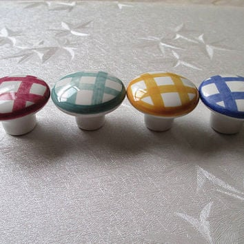 Gingham Dresser Drawer Knobs Handles Pulls Hand Painted Rustic / Cabinet Handle Knob Pull White Yellow Blue Green Red Eclectic Hardware