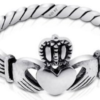 Nickel Free Sterling Silver Irish Claddagh Friendship and Love Polish Finish Band Ring Available in Sizes 4-9 (7)