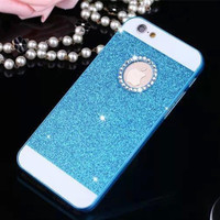 Blue Shinning Rhinestone Bling Bling Apple Logo Window Luxury Phone Back Cover Case for iPhone 4 4s 5 5s 6 6s 6 Plus 6s Plus