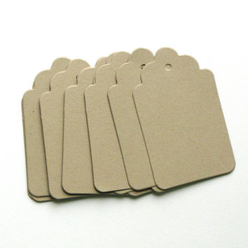 Tags Scalloped - blank kraft tags - price tags - kraft - Die Cuts - acid free - recycled -  scrapbook embellishments